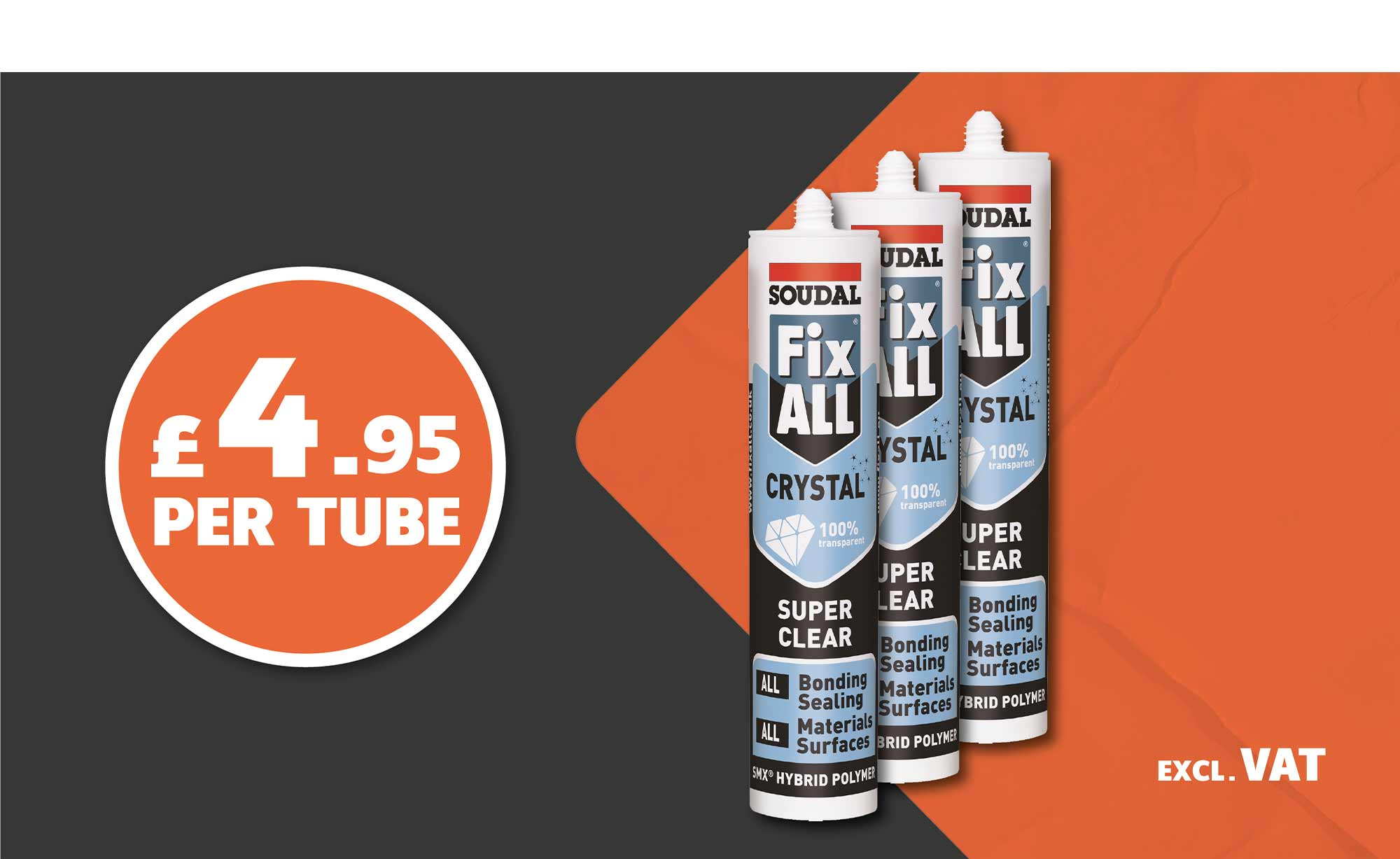 SOUDAL FIX ALL CRYSTAL ONLY £4.95