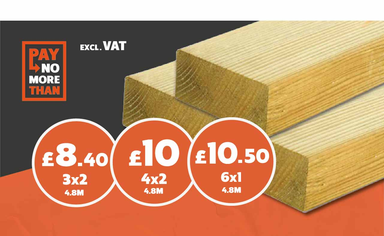 Sawn Timber from £8.40 – All 4.8m lengths